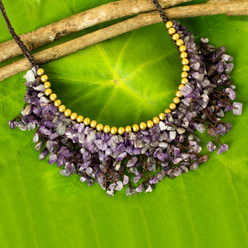 Amethyst Chip and Brass Bead Necklace from Thai Artisan 'Dance Party'