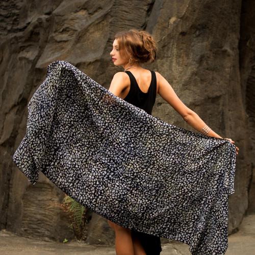 Black and Gray Woven Rayon Shawl from Bali Artisan 'Borneo Slate'