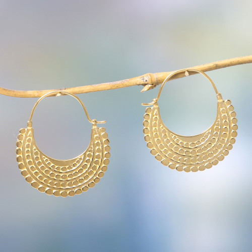 Artisan Crafted 22k Gold Plated Hoop Style Earrings 'Golden Crescent'