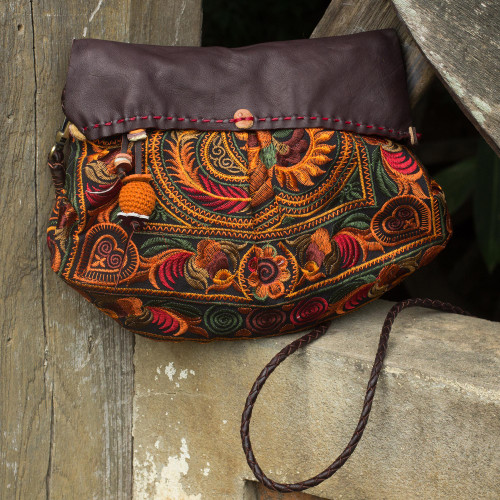 Leather Accent Embroidered Hill Tribe Shoulder Bag with Flap 'Mandarin Smile'