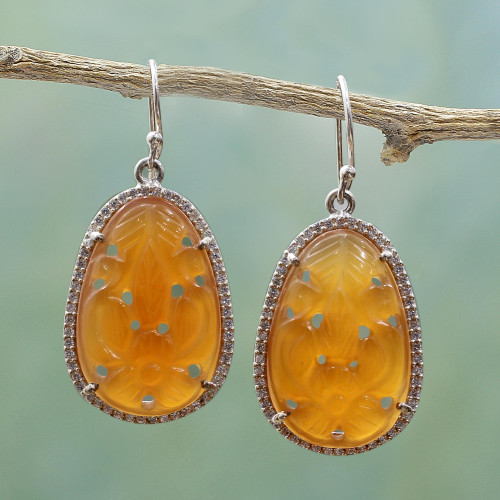 Hand Carved Carnelian Flower Earrings with CZ from India 'Maharashtra Blossom'