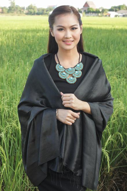 Rayon and Silk Blend Shawl in Black Floral Damask 'Subtle Elegance in Black'