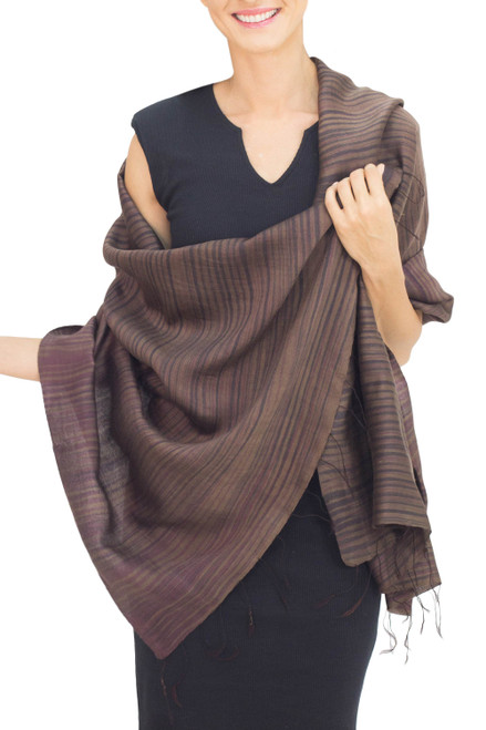 Women's Woven Silk and Cotton Striped Shawl in Umber 'Romance in Umber'