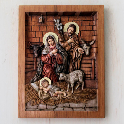 Artisan Crafted Cedar Wood Nativity Scene Relief Sculpture 'In a Stable in Bethlehem'