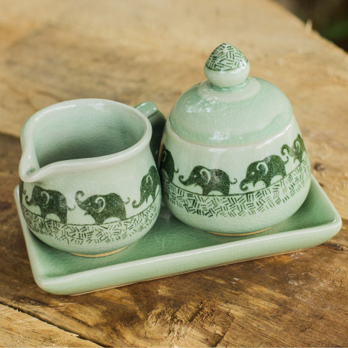 Elephant Cream and Sugar Set in Green Celadon Ceramic 'Elephants on Parade'