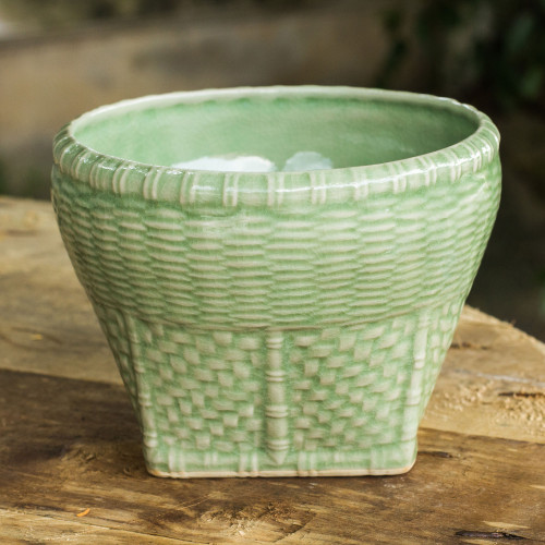 Woven Look Ceramic Vase in Green Celadon Glaze Large 'Basket'