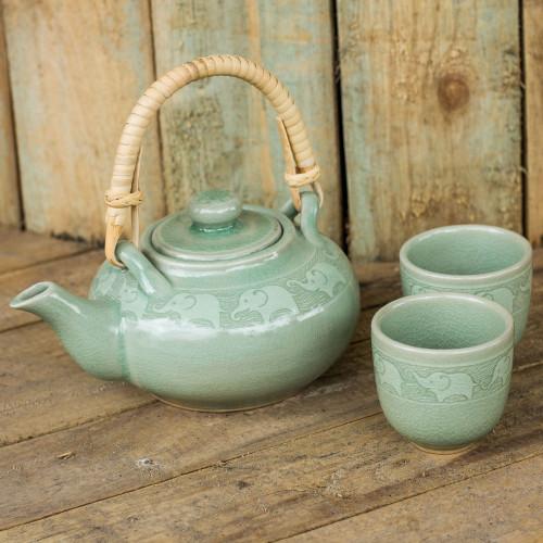 Handmade Tea Set Made of Green Celadon Ceramic Set for 2 'Warm Elephants'