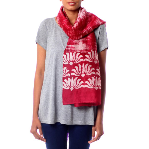 Tie-Dyed Red Batik Scarf Handcrafted from Cotton Silk Blend 'Dancing Lotus'