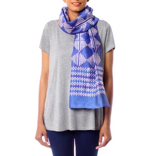 Women's Blue and White Batik Print Scarf in CottonSilk 'Mesmerizing Diamonds'