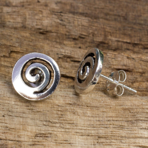 Artisan Crafted Sterling Silver Earrings from Thailand 'Spiral Transformation'