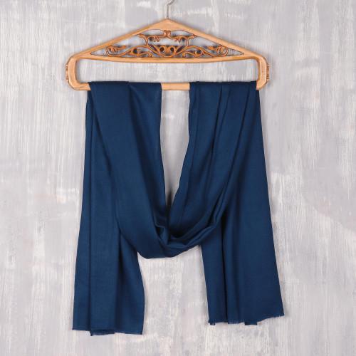 Artisan Hand Loomed Deep Blue Wool Shawl for Women 'Kashmiri Diamonds in Navy'