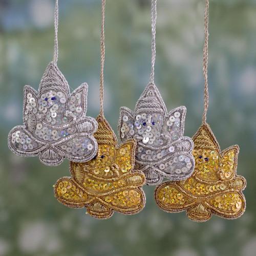4 Glittery Handmade Ornaments Depicting Lord Ganesha 'Happy Ganesha'