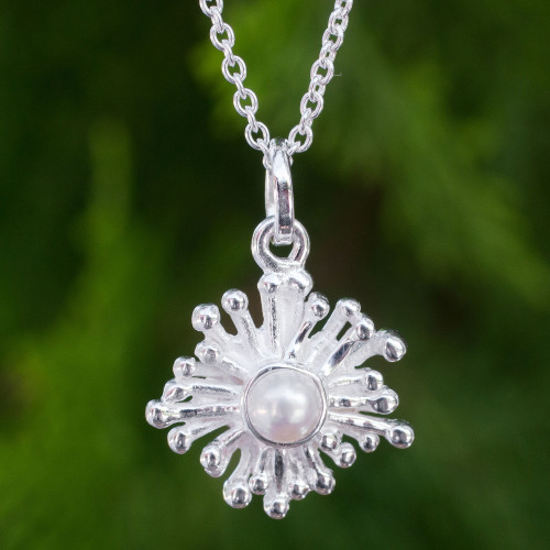 Handmade Sea Anemone Pearl and Silver Necklace 'Petite Seaflower'
