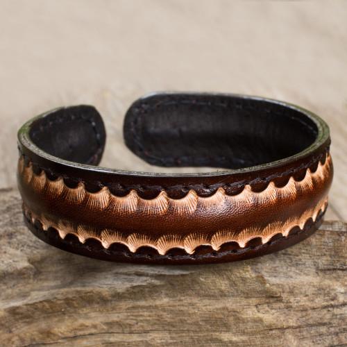 Dark Brown Leather Cuff Bracelet for Men from Thailand 'Dark Warrior'