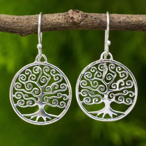 Handcrafted 925 Sterling Silver Tree Dangle Earrings 'Spiral Tree'
