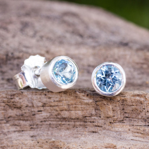 Sterling Silver Stud Earrings with Faceted Blue Topaz 'Light'