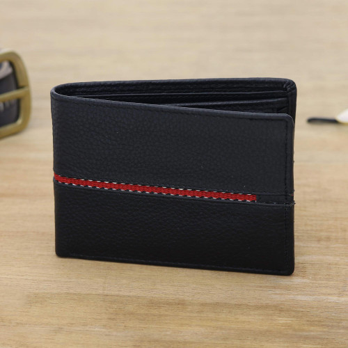 Black Leather Wallet for Men with Multiple Pockets 'Suave in Red'