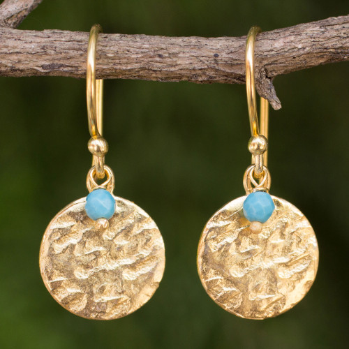 Artisan Crafted 24k Gold Plated Calcite Earrings Thailand 'Aqua Harvest Moon'