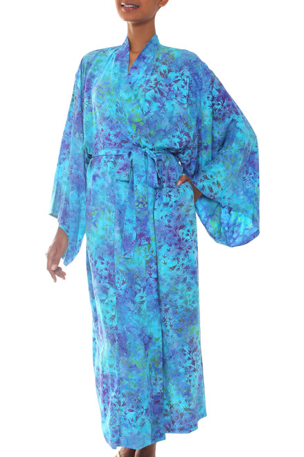 Women's Blue and Green Hand Crafted Batik Rayon Robe 'Misty Garden'