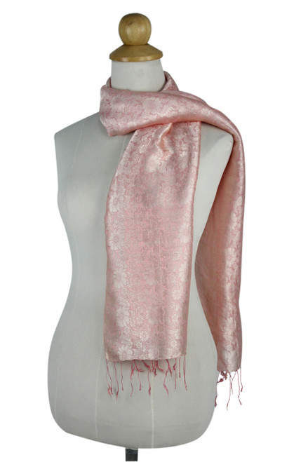 Peach Color Woven Floral Scarf from Thailand 'Peach Bouquet'
