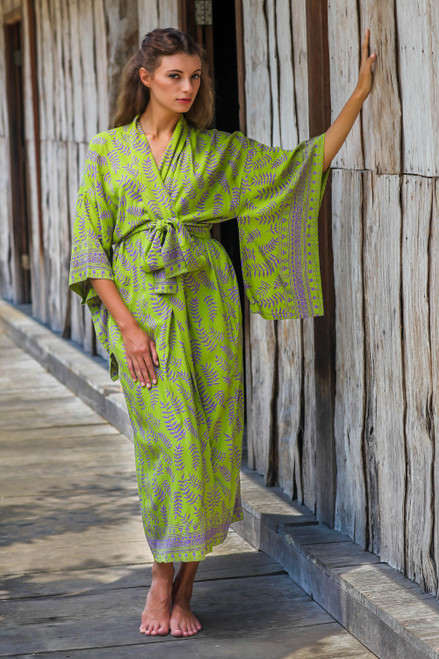 Balinese Green and Purple Fern Leaf Rayon Kimono Style Robe 'Tropical Fern Forest'