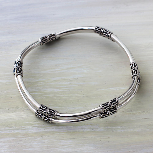 Balinese Handcrafted Sterling Silver Bangle Bracelets Pair 'Elements of Life'