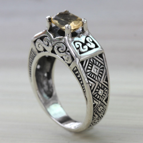 Citrine Solitaire in Sterling Silver Ring with Openwork 'Noble Princess'