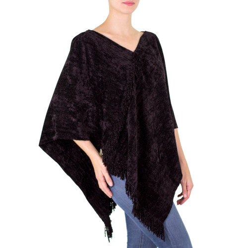 Black Handcrafted Cotton Blend Poncho 'Magical Night'