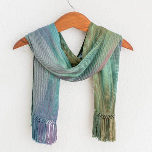 Purple Green Hand Crafted Rayon Chenille Scarf 'Iridescent Pastels'