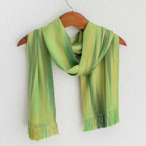 Light and Dark Green Hand Woven Rayon Scarf 'Iridescent Green Pastels'