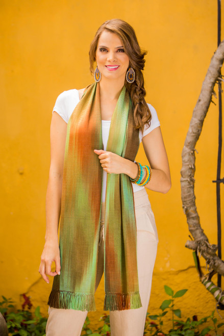 Rayon Chenille Hand Woven Scarf from Guatemala 'Iridescent Green Brown Pastels'