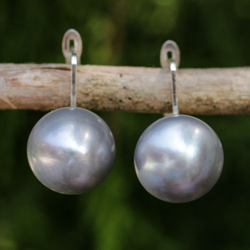 Handcrafted Gray Pearl Drop Earrings from Thai Artisan 'Shadowy Moon'