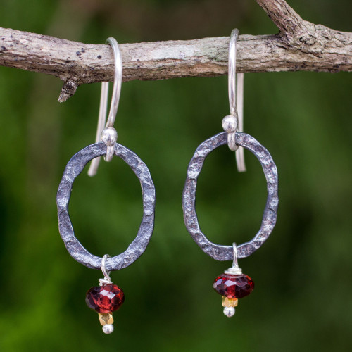 Garnet Dangle Earrings with Oxidized Silver and 24k Gold 'Forged in Passion'