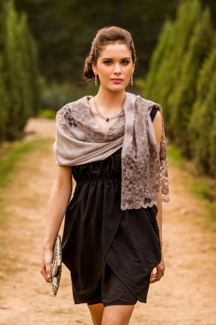 Taupe Grey Wool Blend Shawl Trimmed with Floral Lace 'Infinite Kashmir'