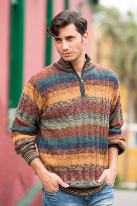 Peruvian 100 Alpaca Men's Zip-Turtleneck Knit Sweater 'Voyager'