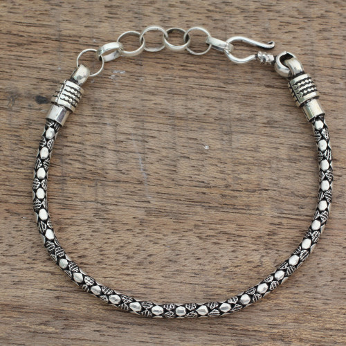 India Fair Trade Men's Sterling Silver Bracelet 'Serpent Shadow'