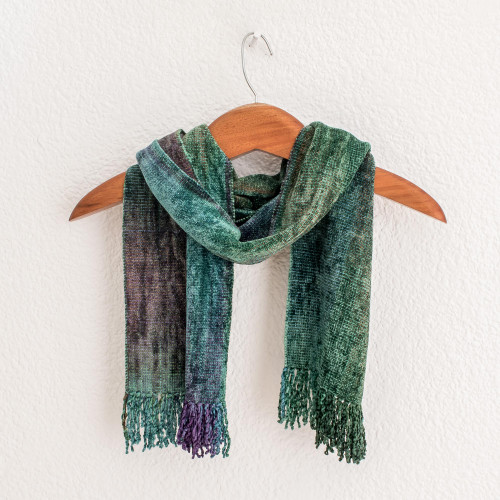 Handwoven Teal Rayon Chenille Scarf from Guatemala 'Enchanted Forest'