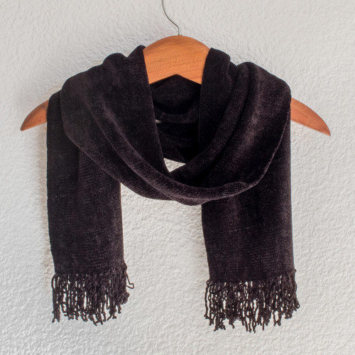 Black Bamboo Chenille Backstrap Loom Maya Scarf 'Dark Night'