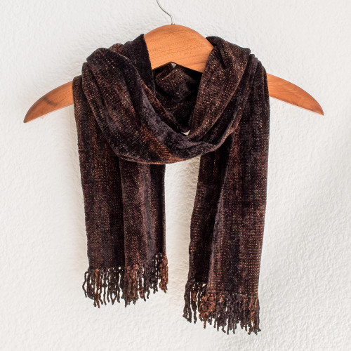 Brown Rayon Chenille Backstrap Loom Maya Scarf 'Night Wind'