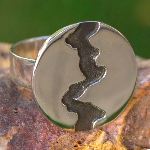 Women's Handmade Cocktail Ring of Taxco Silver 950 'Dark River'