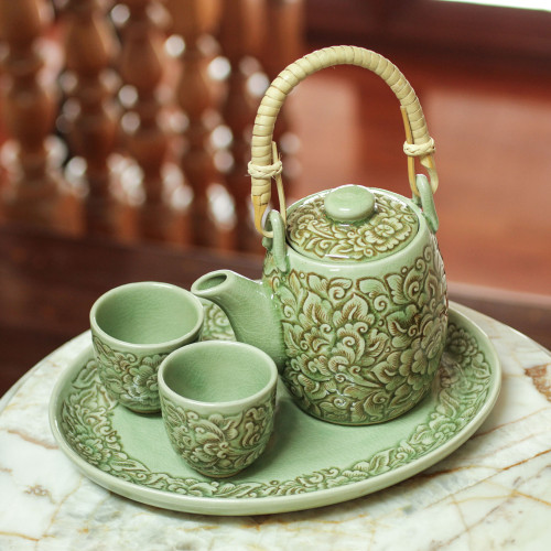 Handmade Floral Ceramic Tea Set from Thailand set for 2 'Thai Camellia in Brown'
