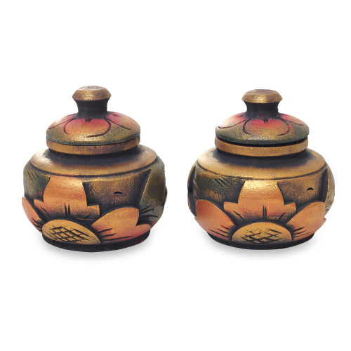 Small Handcrafted Decorative Round Wood Boxes Pair 'Guwang Treasure'