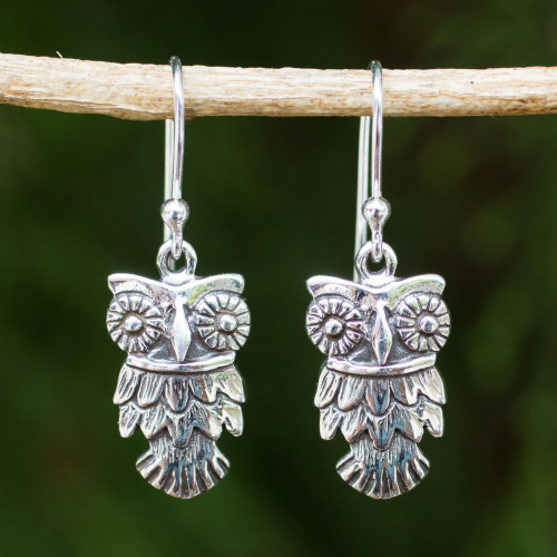 Hand Crafted Owl Dangle Earrings in Sterling Silver 925 'Owl Love'
