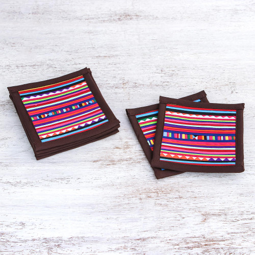 Hand Crafted Brown Cotton Patchwork Coasters Set of 6 'Lahu Dark Brown'
