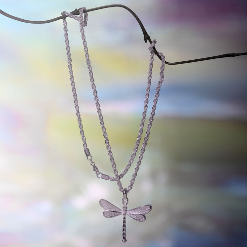 Hand Crafted Sterling Silver Necklace with Dragonfly Pendant 'White Dragonfly'