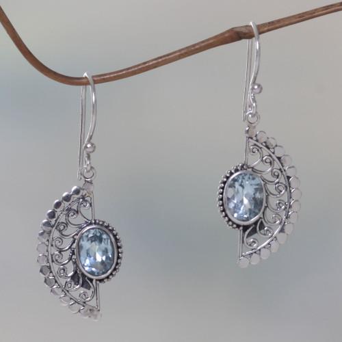 Sterling Silver Hook Earrings with Blue Topaz Gems 'Blue Eyes'