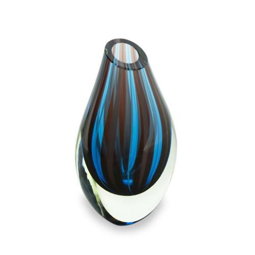 Blue and Red Murano Inspired Handblown Art Glass Vase 'Mystic'