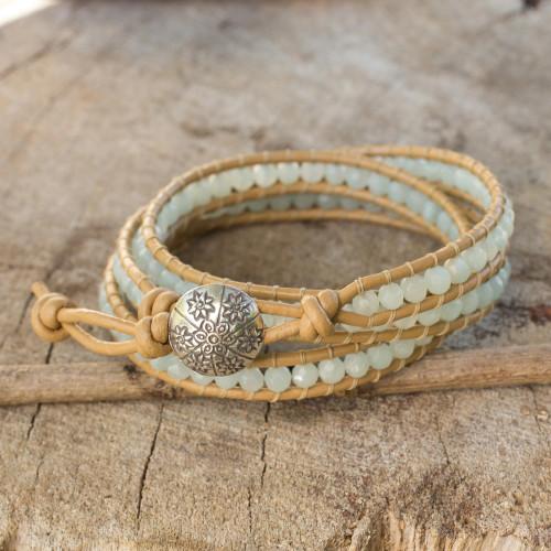 Blue Amazonite and Karen Hill Tribe Silver Wrap Bracelet 'Blue Hydrangea'