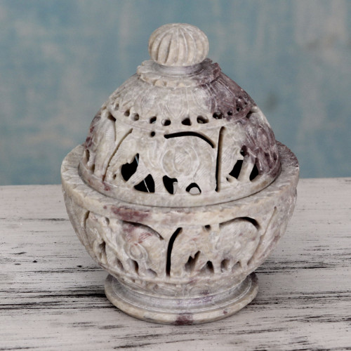 Indian Elephant Theme Hand Carved Soapstone Decorative Jar 'Elephant Parade'