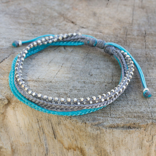 Hand Crafted Cord Wristband Bracelet with Silver Beads 'Sky Grey'